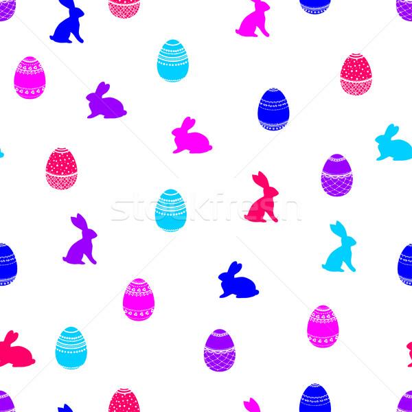 Pascua patrón sin costura brillante decorado huevos Foto stock © Irinka_Spirid