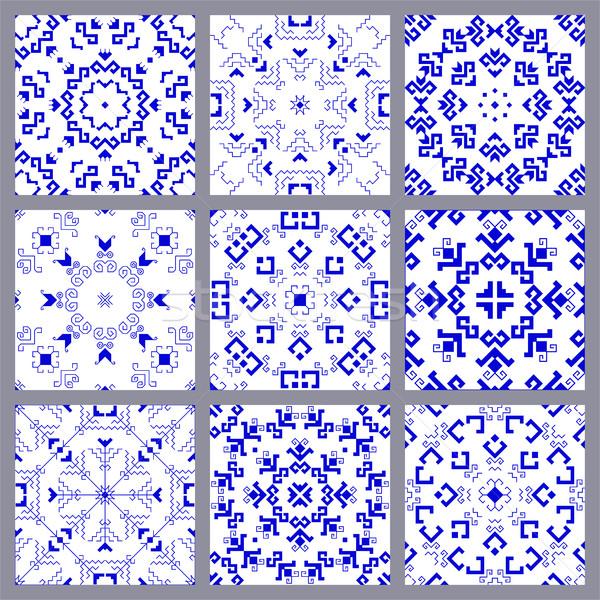 Geométrico establecer azul tradicional elementos Foto stock © Irinka_Spirid