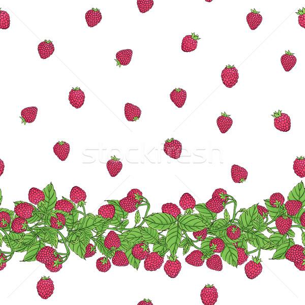 Frambuesa patrón sin costura vector naturales frontera Foto stock © Irinka_Spirid