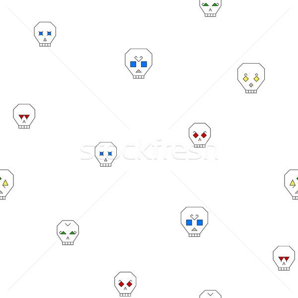 Senza soluzione di continuità disegno geometrico stilizzato cranio bianco diverso Foto d'archivio © Irinka_Spirid