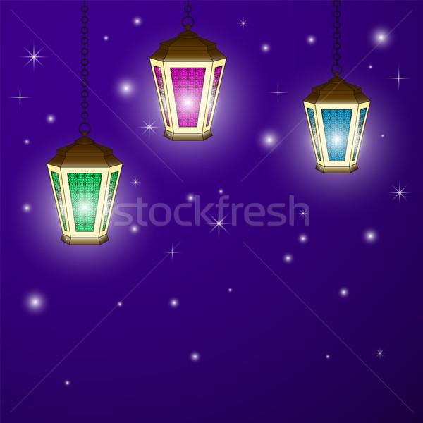 Tarjeta de felicitación árabe lámpara tarjeta Foto stock © Irinka_Spirid