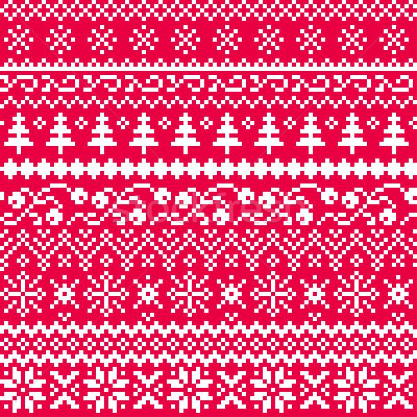 Foto d'archivio: Natale · senza · soluzione · di · continuità · vettore · pattern · etnica