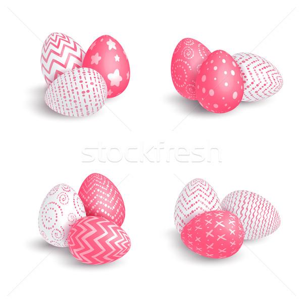 Foto stock: Huevos · grupos · establecer · diferente · huevos · de · Pascua · blanco