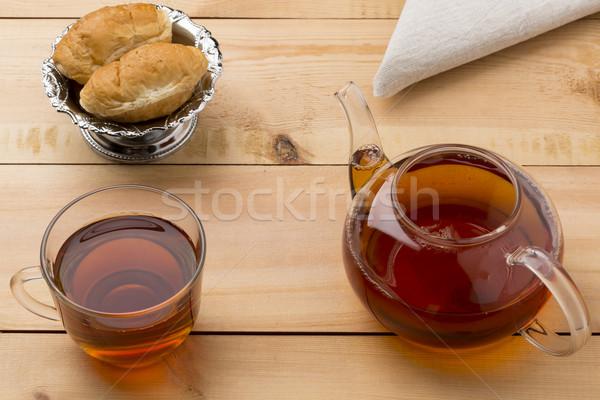 Ingesteld glas weinig theepot croissant Stockfoto © ironstealth