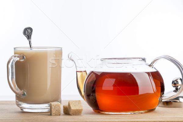 молоко стекла Кубок горячей чай ложку Сток-фото © ironstealth