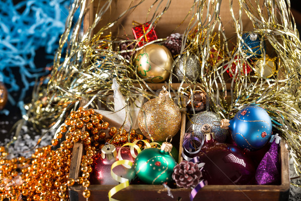 Colorful Christmas balls in a old wooden box Stock photo © ironstealth