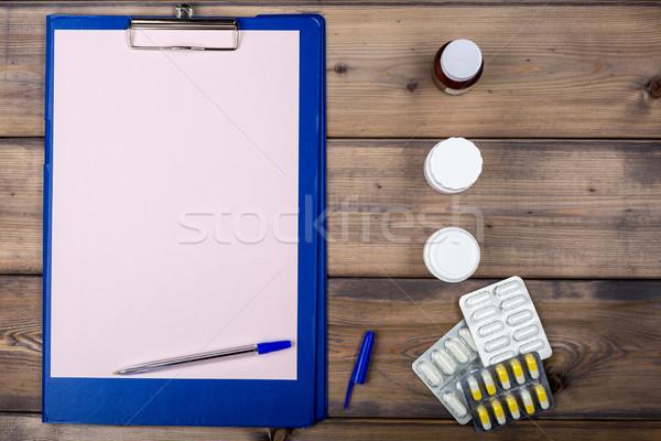 пустая страница различный наркотиков упаковка медицина Сток-фото © ironstealth