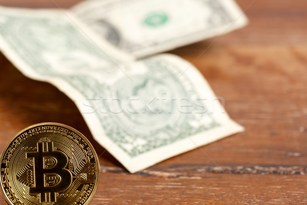Stock photo: Metal bitcoin coin