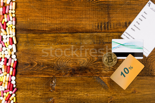 Border from various colorful pills. Blank prescription and credit card Stock photo © ironstealth