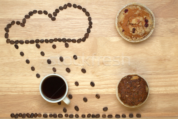 Top view coffee,muffins and figure cloud from coffee beans Stock photo © ironstealth