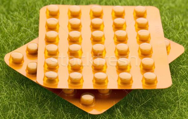 Ingesteld oranje pil pack gras Stockfoto © ironstealth