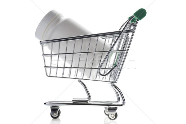 Píldora botella cesta de la compra aislado blanco tienda online Foto stock © ironstealth