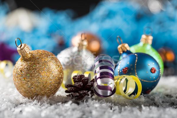 Noel yılbaşı dekorasyon soyut ahşap kar Stok fotoğraf © ironstealth