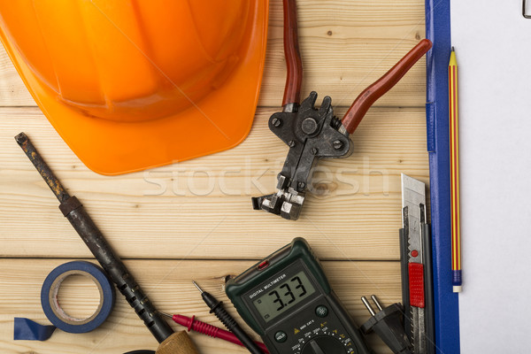 Set-up of various hand and electric tools Stock photo © ironstealth