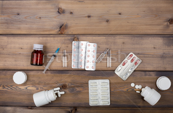 Setup from various pill bottles an blister pack Stock photo © ironstealth