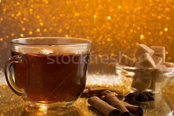 стекла Кубок свежие горячей чай тростник Сток-фото © ironstealth