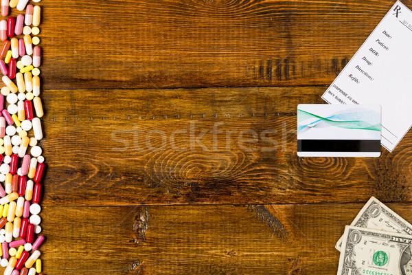 Foto stock: Fronteira · colorido · pílulas · prescrição
