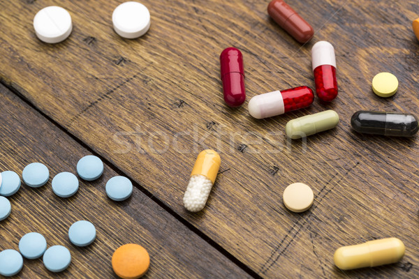 Set of colorful pills and capsules Stock photo © ironstealth