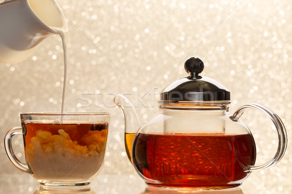 Melk beker zwarte thee transparant theepot Stockfoto © ironstealth