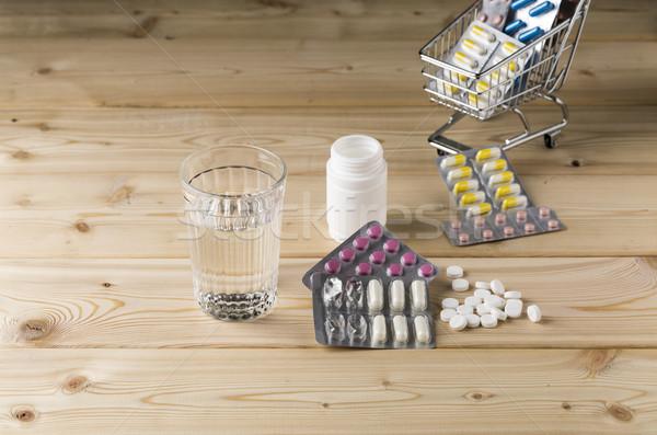 üveg tiszta víz köteg hólyag tabletták bolt Stock fotó © ironstealth