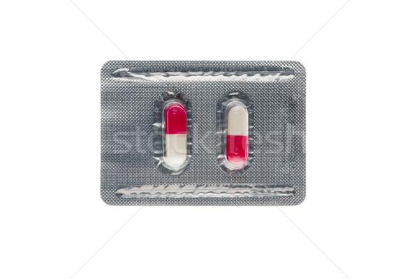 розовый капсулы волдырь Pack изолированный белый Сток-фото © ironstealth
