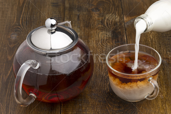 набор стекла чайник чайная чашка бутылку молоко Сток-фото © ironstealth