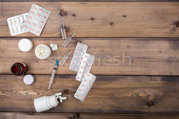 Medicine setup. Syringe and ampule Stock photo © ironstealth