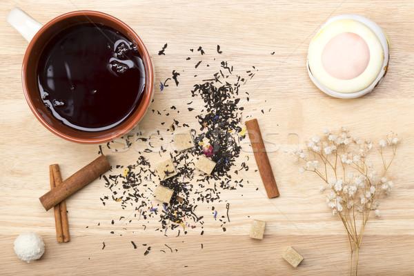 Tasse noir thé délicieux déjeuner Photo stock © ironstealth