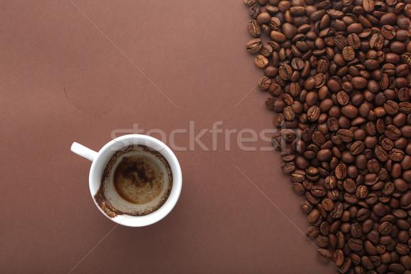 Beker dronken koffie bruin bonen restaurant Stockfoto © ironstealth