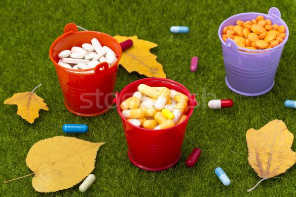 таблетки урожай красочный трава медицина синий Сток-фото © ironstealth