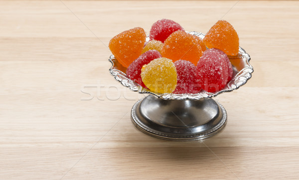 Delicious colorful marmalade on wooden table Stock photo © ironstealth