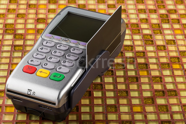 POS payment mobile gprs terminal with black blank card Stock photo © ironstealth