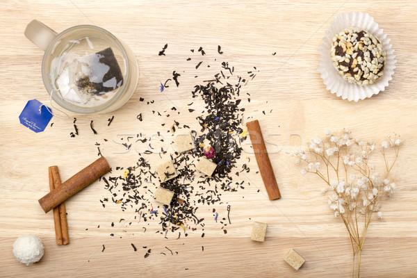 Кубок чай сумку торт горячей Сток-фото © ironstealth