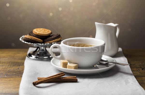 Ayarlamak fincan tabağı ışık gri Stok fotoğraf © ironstealth