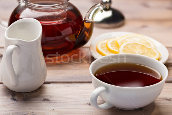 Cam demlik çay fincanı ahşap ahşap sağlık Stok fotoğraf © ironstealth