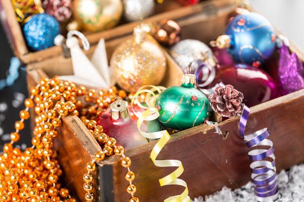 Natal ano novo decoração abstrato madeira feliz Foto stock © ironstealth