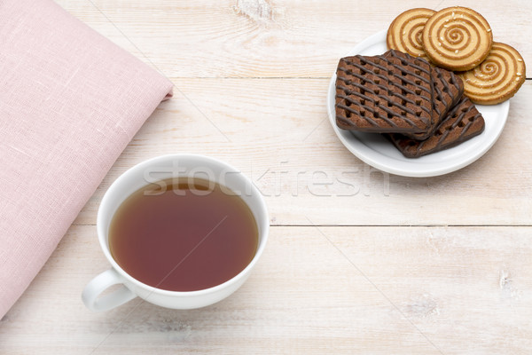 Cup of tea and various cookies Stock photo © ironstealth
