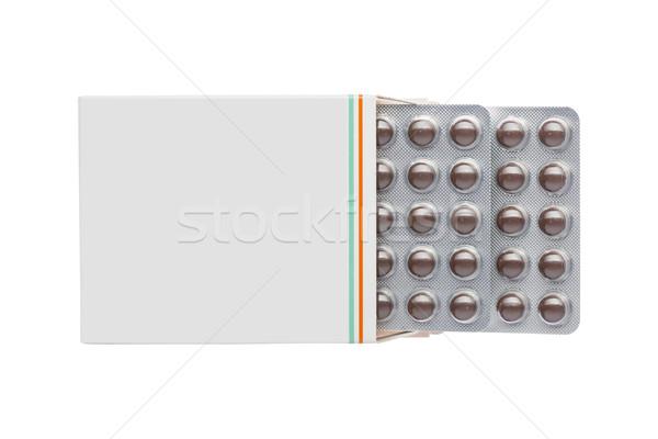 Cinza caixa marrom pílulas bolha empacotar Foto stock © ironstealth
