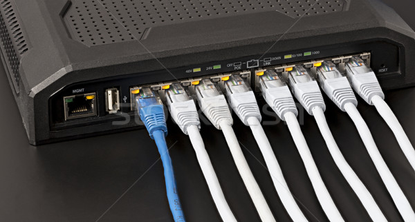 Managed switch with 10 power over ethernet gigabit ports Stock photo © ironstealth