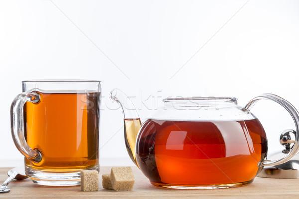 Teiera Cup tè tavolo in legno nero luce Foto d'archivio © ironstealth