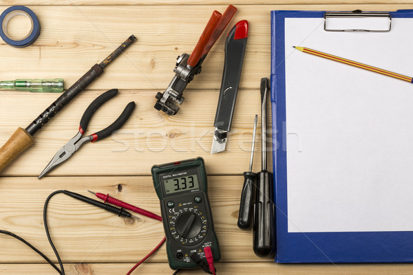 Set-up of various hand and electric tools for repair Stock photo © ironstealth