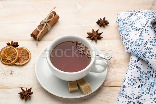 Stok fotoğraf: çay · fincanı · sıcak · çay · peçete · ahşap · masa · gıda