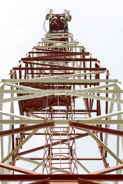 Cell tower and antenna GSM,CDMA. Seen from below Stock photo © ironstealth