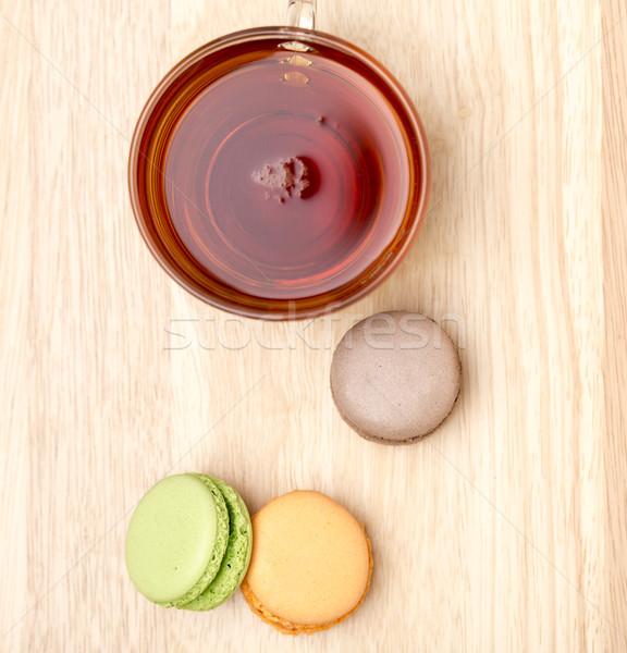 Vidrio taza negro vista establecer té Foto stock © ironstealth