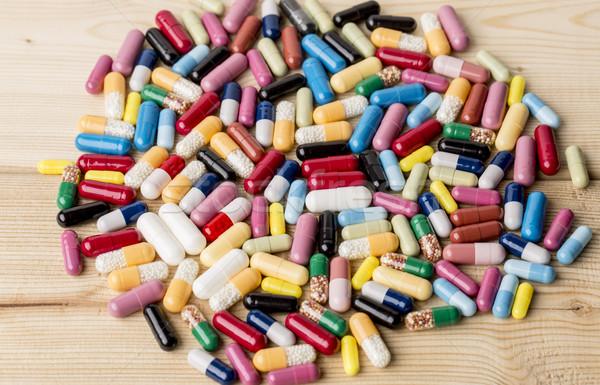 Colorato droga pillole legno medici Foto d'archivio © ironstealth