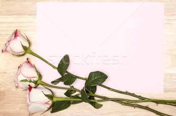 Carte vierge blanche rose bois espace de copie copier Photo stock © ironstealth