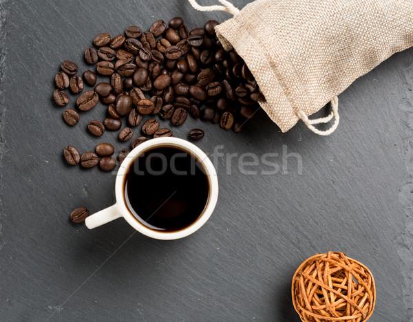 Tasse grains de café café fèves fumée Photo stock © ironstealth