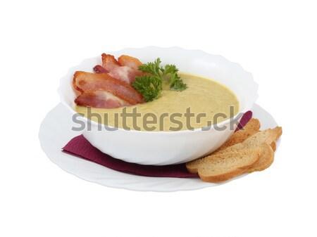 Crema sopa tocino queso placa carne Foto stock © ironstealth