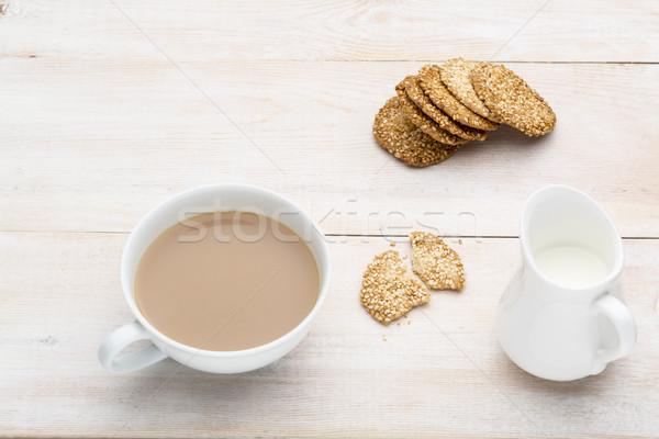 Кубок чай молоко кунжут Cookies ярко Сток-фото © ironstealth