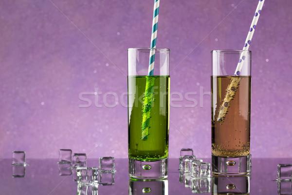 Set due vetro soda colorato decorato Foto d'archivio © ironstealth